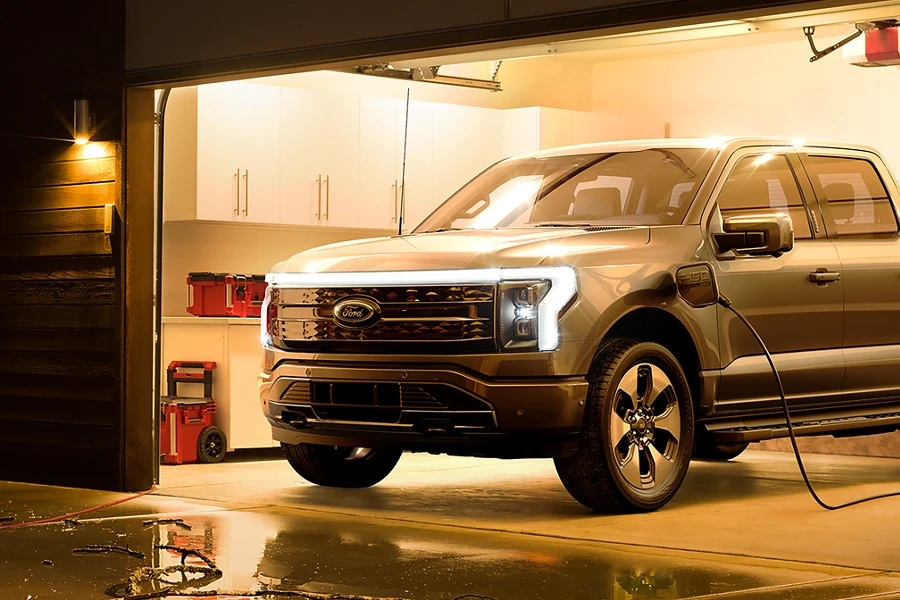 Ford F-150 Lightning plugged in for charging